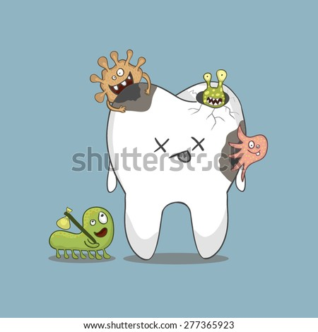 cartoon sick tooth with bacteria - stock vector