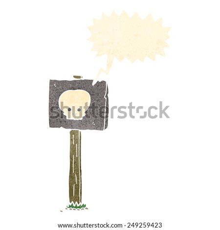 cartoon sign post with speech bubble - stock vector