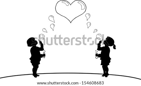 Cartoon silhouette of a small boy and girl children blowing soap bubbles to form a heart.  - stock vector