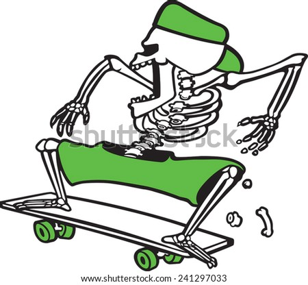 Cartoon skeleton skateboarder. Vector file available. Bones Grinder - stock vector