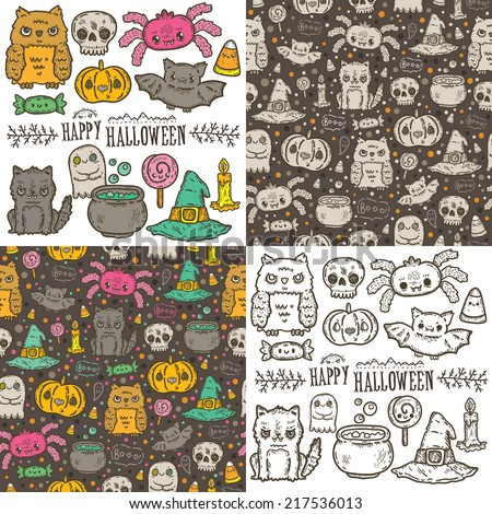 Cartoon sketch Happy halloween holiday pattern and characters set with owl, cat, bat, pumpkin, candle, cauldron, witch hat, lollipop, candy, corn, spider. - stock vector