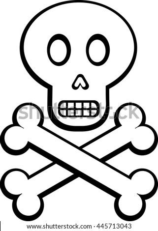 cartoon skull and crossed bones - stock vector