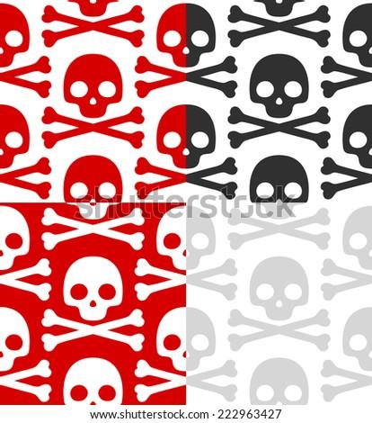 Cartoon Skull pattern set - stock vector