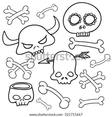 Cartoon Skull, vector illustration on a white background,set - stock vector