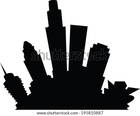 Cartoon skyline silhouette of the city of Los Angeles, California, USA. - stock vector