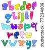 Cartoon small alphabet - stock vector