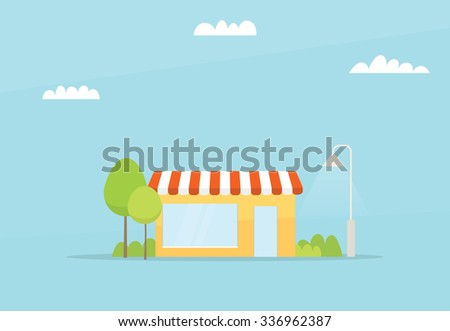 Cartoon small store. flat simple design - stock vector