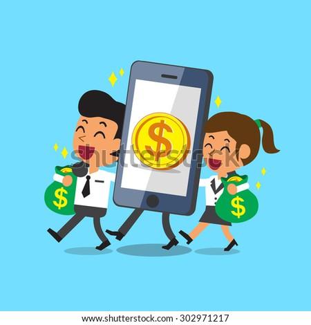 Cartoon smartphone help business team to earn money - stock vector