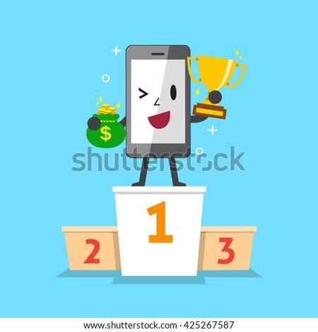 Cartoon smartphone winner standing on a podium with reward - stock vector