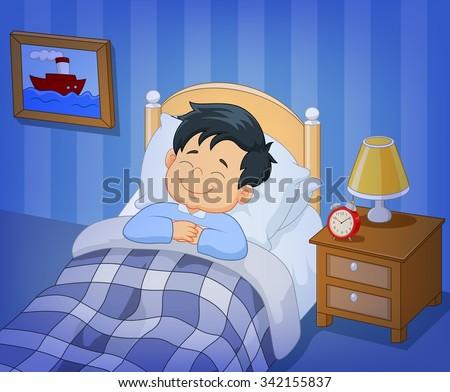 Cartoon smile little boy sleeping in the bed - stock vector