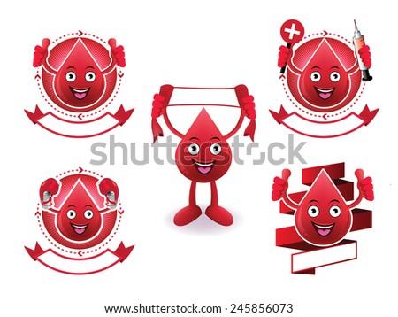 Cartoon smiling blood banner set - stock vector