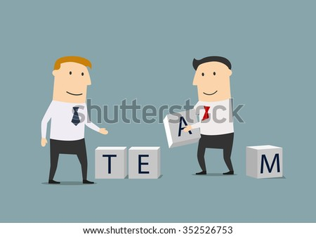 Cartoon smiling businessmen creating the word Team from block cubes. Business team, teamwork and partnership design usage - stock vector