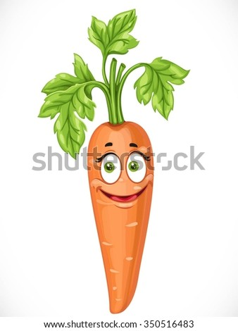 Cartoon smiling carrot isolated on white background - stock vector