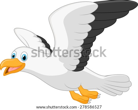 Cartoon smiling seagull on white background  - stock vector