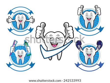 Cartoon Smiling tooth banner set - stock vector
