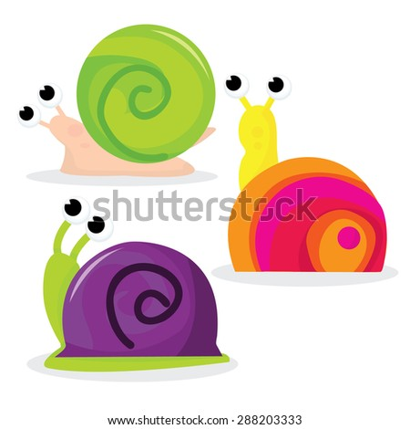 Cartoon snails in green, pink and purple vector illustration. - stock vector