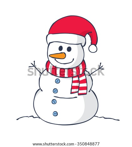 cartoon snowman isolated on white background - stock vector