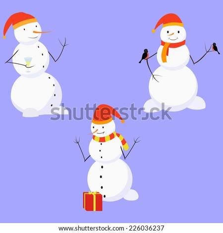 cartoon snowman, set of three fun winter characters - stock vector