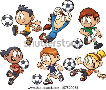 Cartoon soccer kids. Vector clip art illustration with simple gradients. Each element on a separate layer. - stock vector