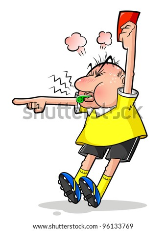 cartoon soccer referee pointing and holding a red card - stock vector
