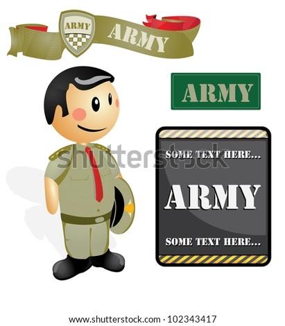 Cartoon soldier Officer Cartoon soldier Officer - stock vector
