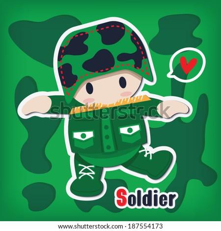 cartoon soldier sticker vector style - stock vector