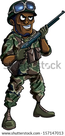 Cartoon soldier with a shotgun. Isolated on white - stock vector