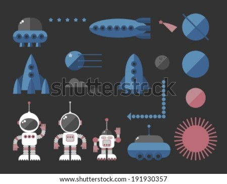cartoon space icon, vector illustration - stock vector