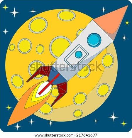 Cartoon Space Rocket on a Background of Yellow Moon and a Starry Blue Sky in the Space. Vector. Illustration - stock vector