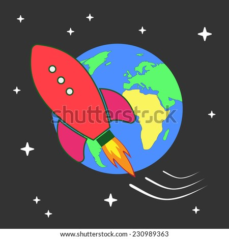 Cartoon Spaceship Flying around the globe. Vector illustration of a cartoon rocket spaceship flying into galaxy near planet Earth. EPS10 - stock vector
