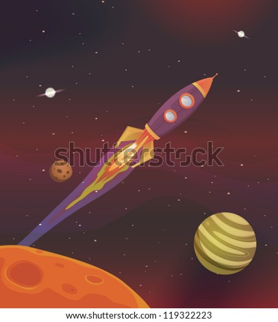 Cartoon Spaceship Flying Into Galaxy/ Illustration of a cartoon rocket spaceship flying into galaxy among planets and solar system - stock vector