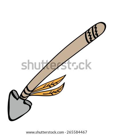 cartoon spear, vector illustration - stock vector