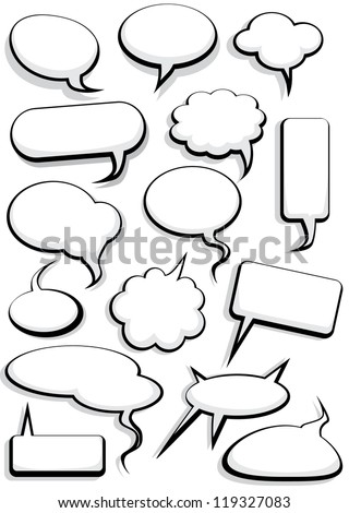 Cartoon speech bubble set - stock vector
