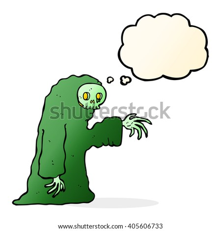 cartoon spooky halloween costume with thought bubble - stock vector