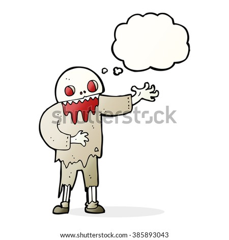 cartoon spooky zombie with thought bubble - stock vector