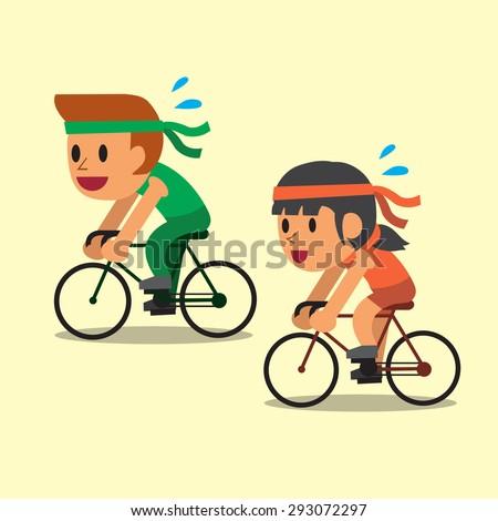 Cartoon sport man and woman ride bikes - stock vector