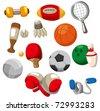 cartoon Sport objects icon - stock vector