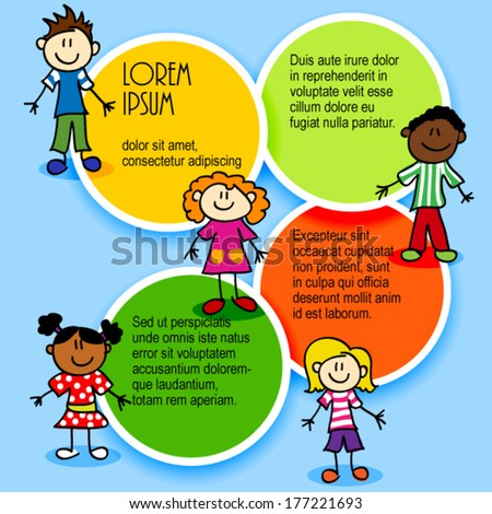 Cartoon stick figures kids with color circles for text, ad template - stock vector