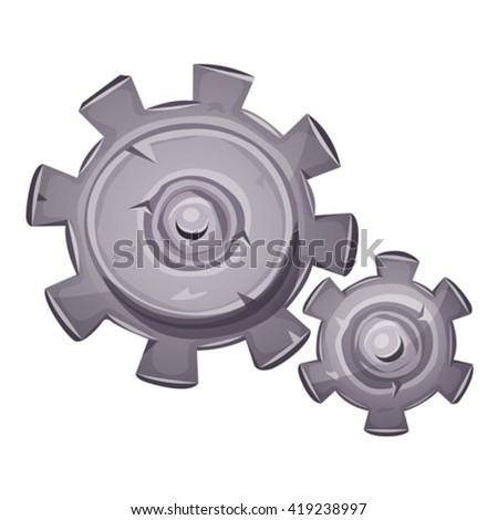Cartoon Stone Gears/ Illustration of a cartoon stone and rock gearing set, with big and small clockwork gears made of cogwheel, symbolizing time, work in progress, motion concept and mechanism  - stock vector