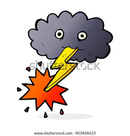 cartoon storm cloud - stock vector