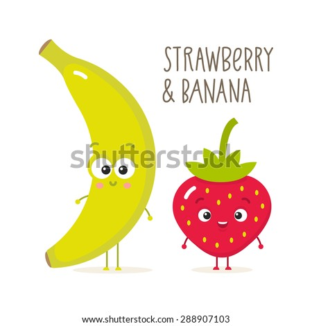 Cartoon strawberry and banana with eyes. Fruits isolated on white - stock vector