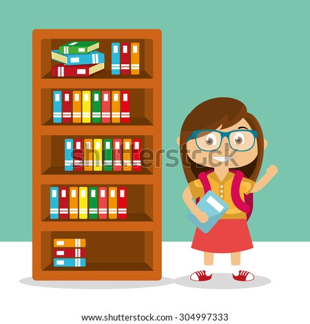 Cartoon Student in the library - stock vector