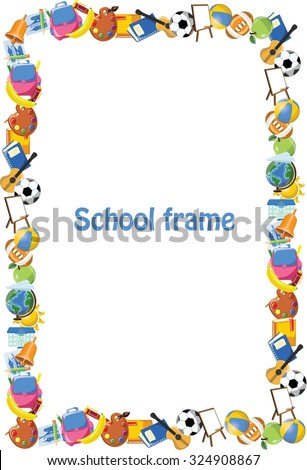 Cartoon students and school stuffs, banner frame - stock vector