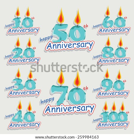 Cartoon style anniversary greeting card collection with calligraphic design. Template of anniversary, jubilee or birthday card. Candle numbers design. - stock vector