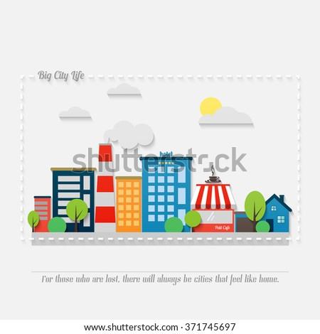 cartoon style cityscape with modern architecture, office buildings, hotel, market, park, coffee house and asphalt road. vector colorful illustration. big city life banner concept  - stock vector