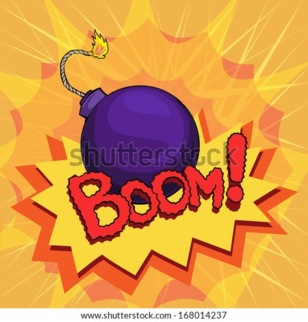 cartoon style explosion, bomb, vector illustration - stock vector