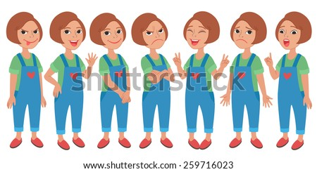 Cartoon style girl wearing jeans jumpsuit and t-shirt. Set of original character different standing poses and facial expressions. Vector illustrations collection isolated on white background - stock vector