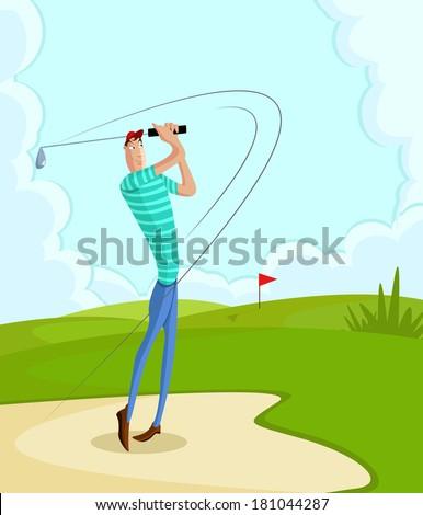 cartoon style golfer in vector hitting fairway shot - stock vector