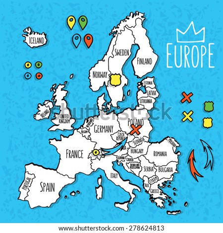Cartoon style hand drawn travel map of Europe with pins vector  illustration - stock vector
