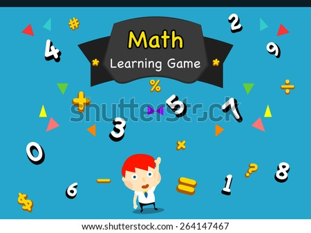 cartoon style kid learning math symbols and numbers/ vectors, icons, clip arts for educational usage - stock vector